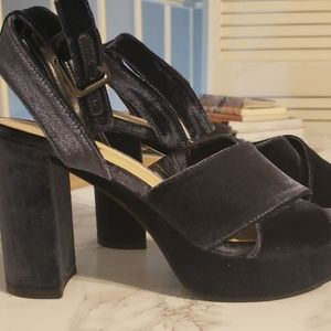 Nine West Velvet Platforms